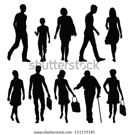 silhouettes of people in different poses - stock vector