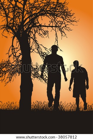Silhouettes of people in nature, sunset, vector graphics