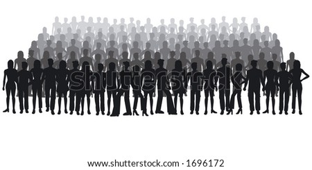 Silhouettes of people - large crowd - stock vector