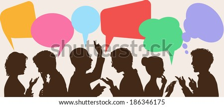 silhouettes of people leading dialogues with colorful speech bubbles - stock vector