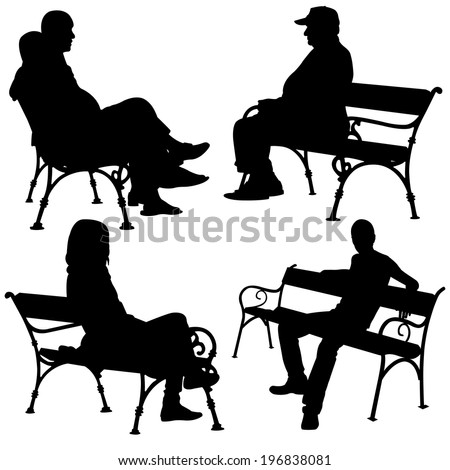 silhouettes of people on benches - stock vector