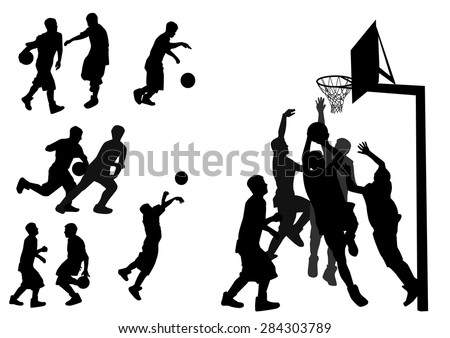 silhouettes of people playing basketball - stock vector
