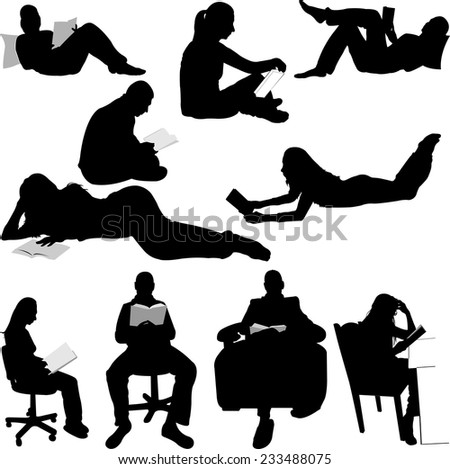 silhouettes of people reading books - stock vector