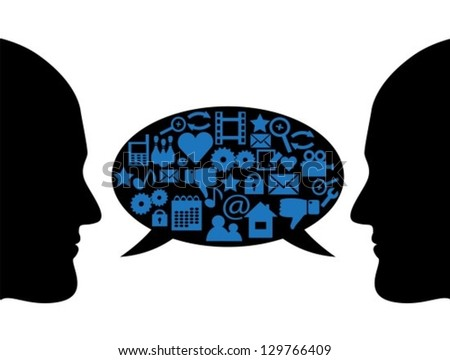silhouettes of people's faces in profile and bubble dialogue with different symbols - stock vector