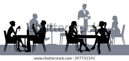 Silhouettes of people sitting at the tables in the restaurant or cafe Stock vector illustration