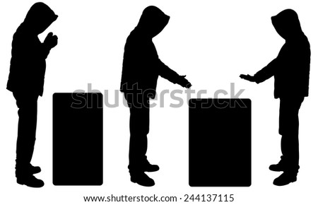 silhouettes of people warming by fire - stock vector