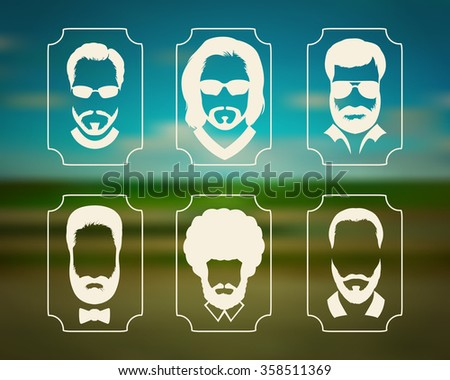 Silhouettes of people with a beard and glasses. Stylish avatars man without a face on a blurred background. - stock vector