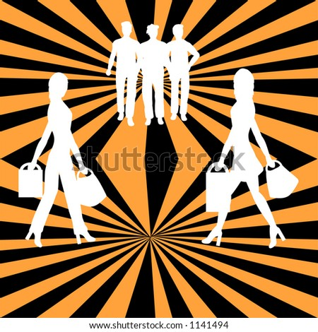 Silhouettes of people with a retro background - stock vector