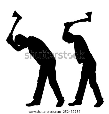 silhouettes of people with axes isolated on white - stock vector