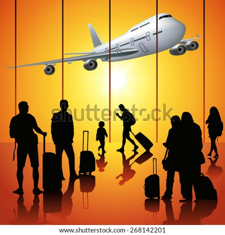 Silhouettes of people with luggage walking at airport. Vector illustration - stock vector
