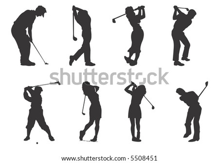silhouettes of players of golf - stock vector