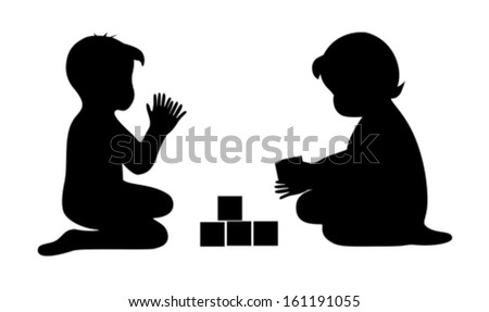 children playing silhouette stock images royaltyfree
