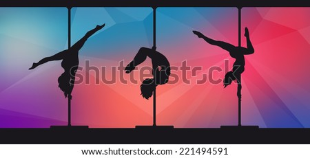 Silhouettes of pole dancers on abstract background - stock vector