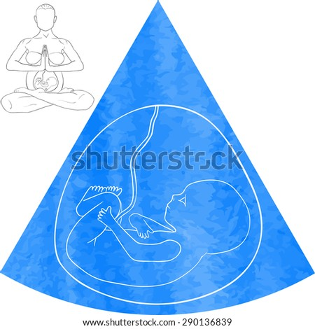 Silhouettes of pregnant women doing exercises. Vector illustration - stock vector