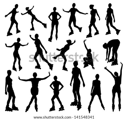 Silhouettes of roller girl - stock vector