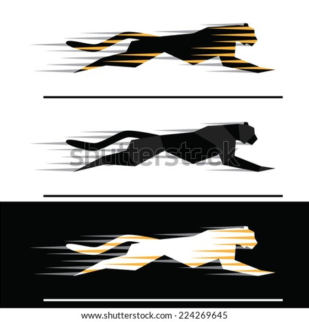 Silhouettes of running big felines with motion trails  - geometric style. - stock vector