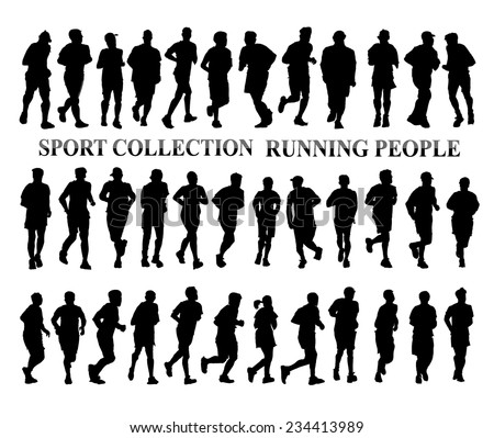 Silhouettes of running people. Sport and healthy life style concept - stock vector