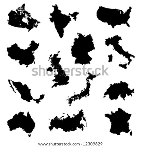 silhouettes of several major countries - stock vector