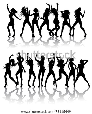 Silhouettes of sexy beautiful women dancing with silhouettes