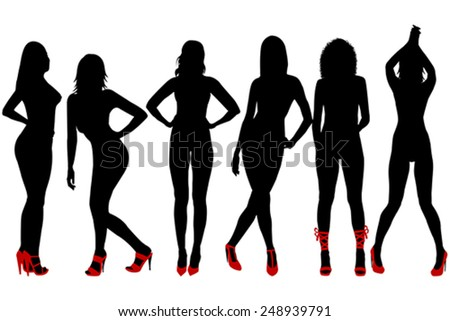 Silhouettes of sexy women with red shoes - stock vector