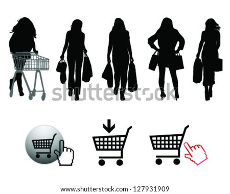 Silhouettes of shopping and signs-vector - stock vector