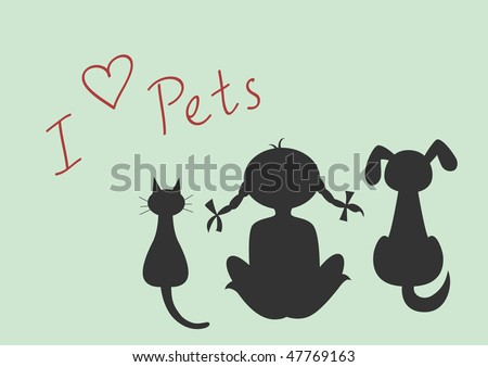 Silhouettes of sitting cat, dog and little girl and I love pets text, vector illustration