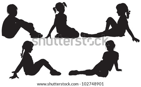 Silhouettes Sitting Girls Stock Vector 102748901