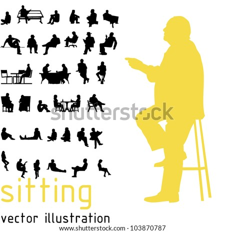silhouettes sitting people vector de stock libre de regal as 103870787 shutterstock. Black Bedroom Furniture Sets. Home Design Ideas