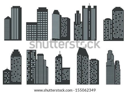 Silhouettes of skyscrapers. Vector set - stock vector