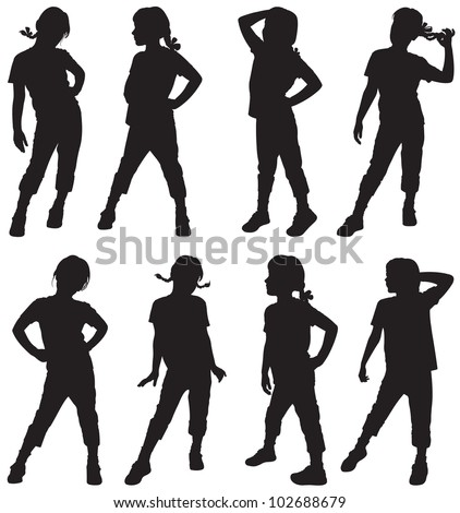 Silhouettes of small girls - stock vector
