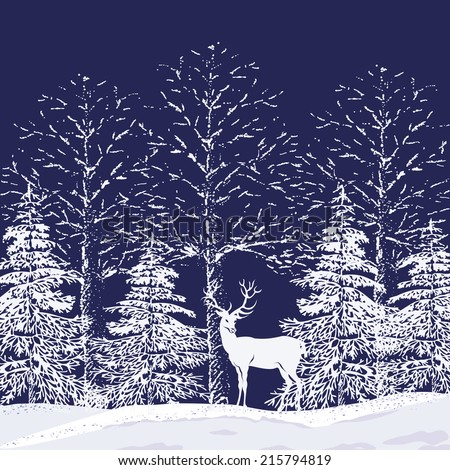 Silhouettes of snowy trees and fir trees in the forest and reindeer on a dark blue background - stock vector