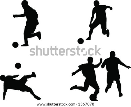 Silhouettes of soccer players (no quality lose when scale to bigger size) - stock vector