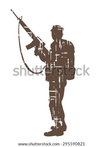 silhouettes of soldiers in grunge style. vector illustration