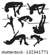 silhouettes of sportsmen of a high jump - stock vector