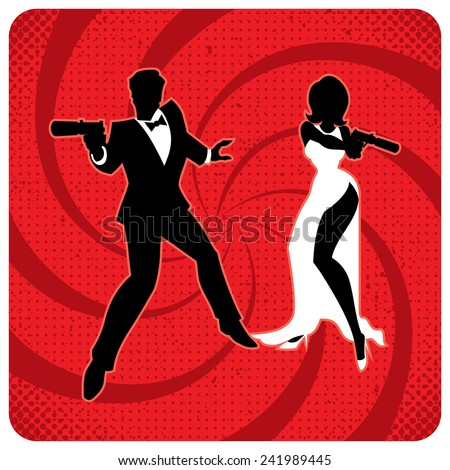 Silhouettes of spy couple over abstract background. No transparency and gradients used.  - stock vector