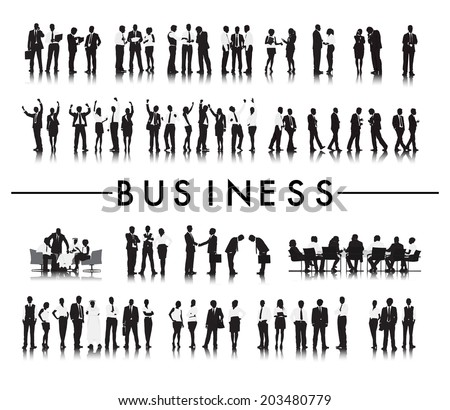 Silhouettes of Successful Business People and the Text Business - stock vector