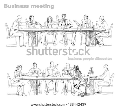 Silhouettes of successful business people working on meeting. Sketch