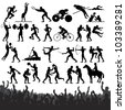 Silhouettes of Summer Olympic Sport. Vector Design Clip Art - stock vector