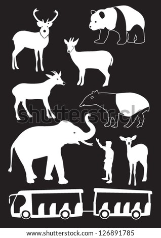 Silhouettes of the animals at the zoo - stock vector