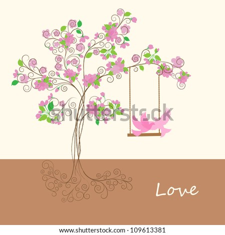 Silhouettes of the birds under a spring tree - stock vector