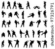 Silhouettes of the fighting businessmen - vector illustration set. - stock photo