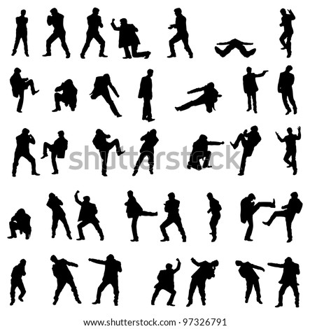 Silhouettes of the fighting businessmen - vector illustration set. - stock vector