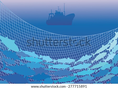 Silhouettes of the fishing trawler, commercial fish and net on the background of the sea. - stock vector
