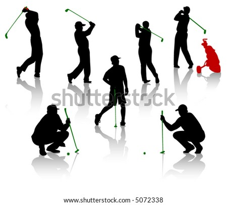 Silhouettes of the men playing a golf - stock vector