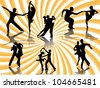 Silhouettes of the pairs dancing ballroom dances. - stock vector