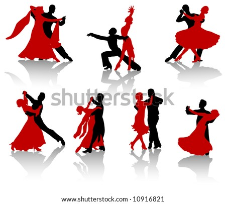 Silhouettes of the pairs dancing ballroom dances. A waltz, a tango, a foxtrot. - stock vector