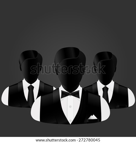 silhouettes of three businessmen, in the forefront of business changes in a butterfly - stock vector