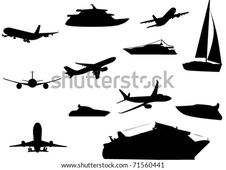 Silhouettes of transportation vehicles - stock vector