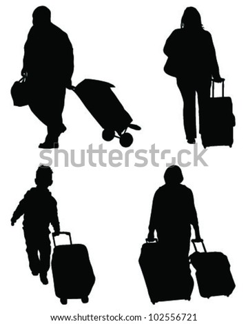 Silhouettes of travelers with suitcases-vector - stock vector