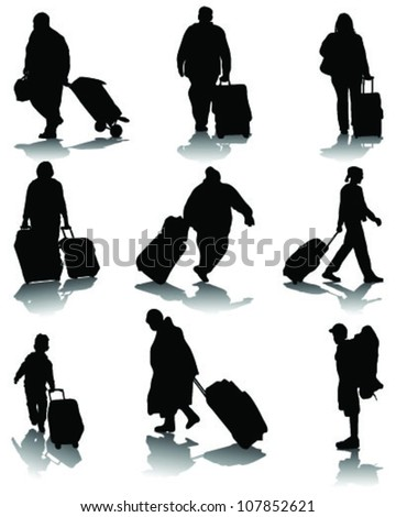 Silhouettes of travelers with suitcases 2-vector - stock vector